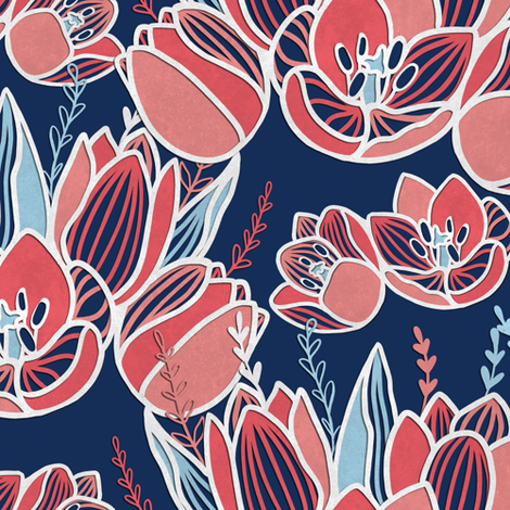 Papercut tulips fabric by elena_naylor on Spoonflower - custom fabric