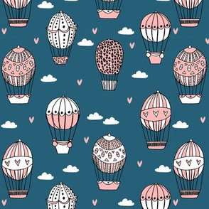 hot air balloon fabric // blue and coral nursery girls sweet vintage retro illustration by andrea lauren