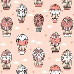 hot air balloon fabric // blush and coral nursery girls sweet vintage retro illustration by andrea lauren