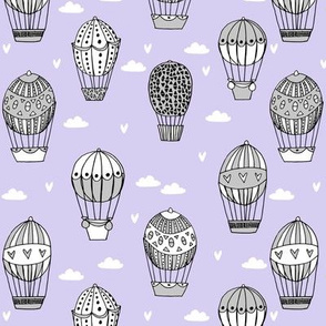 hot air balloon fabric // lavender and grey nursery girls sweet vintage retro illustration by andrea lauren
