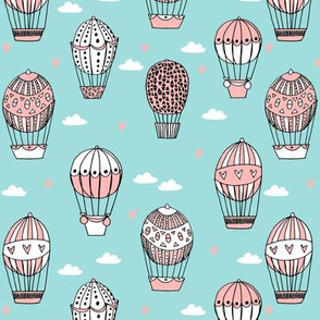 hot air balloon fabric // light blue nursery girls sweet vintage retro illustration by andrea lauren