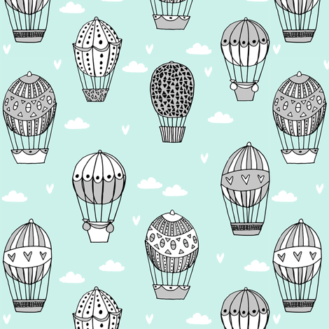 hot air balloon fabric // mint and grey nursery girls sweet vintage retro illustration by andrea lauren fabric by andrea_lauren on Spoonflower - custom fabric
