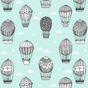 hot air balloon fabric // mint and grey nursery girls sweet vintage retro illustration by andrea lauren