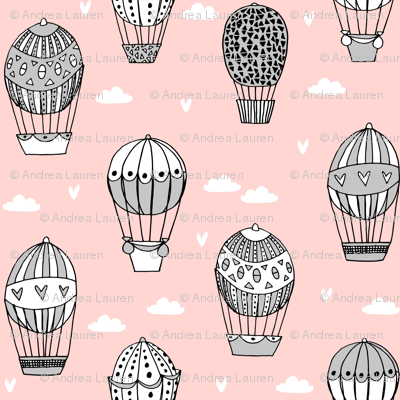 hot air balloon fabric // pink and grey nursery girls sweet vintage retro illustration by andrea lauren