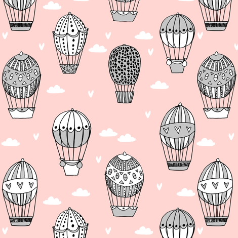 hot air balloon fabric // pink and grey nursery girls sweet vintage retro illustration by andrea lauren fabric by andrea_lauren on Spoonflower - custom fabric