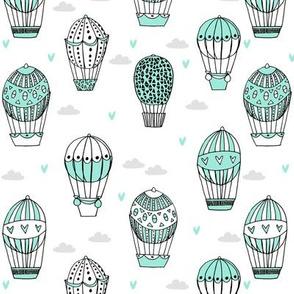 hot air balloon fabric // mint nursery girls sweet vintage retro illustration by andrea lauren