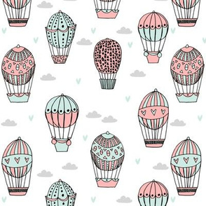 hot air balloon fabric // mint and coral nursery girls sweet vintage retro illustration by andrea lauren