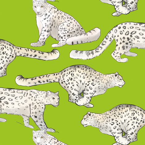 Snow Leopards on Lime Green fabric by landpenguin on Spoonflower - custom fabric