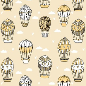 hot air balloon fabric // pastel yellow nursery girls sweet vintage retro illustration by andrea lauren