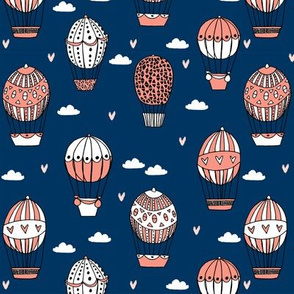 hot air balloon fabric // navy and coral nursery girls sweet vintage retro illustration by andrea lauren