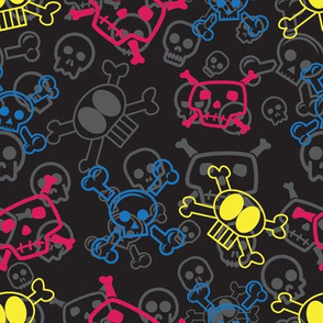 Cartoon Skull & Crossbones - Color Skulls for Children and Adults