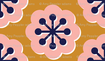 Forget-Me-Not* (Gold Seal) || flowers floral mod modern midcentury geometric spring summer blooms children girls pink gold mustard