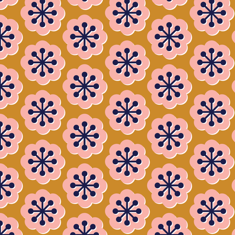 Forget-Me-Not* (Gold Seal) || flowers floral mod modern midcentury geometric spring summer blooms children girls pink gold mustard fabric by pennycandy on Spoonflower - custom fabric