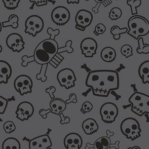 Cartoon Skull & Crossbones - Grey & Black Skulls Background