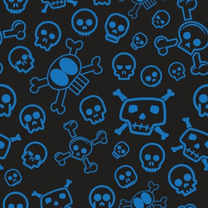 Cartoon Skull & Crossbones - Blue Skulls for Children and Adults