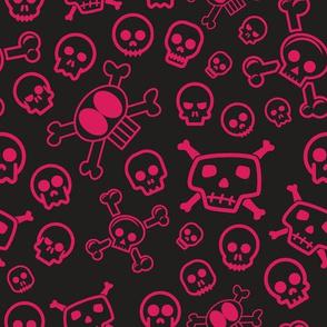 Cartoon Skull & Crossbones - Red Skulls Background