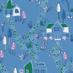 village in blue