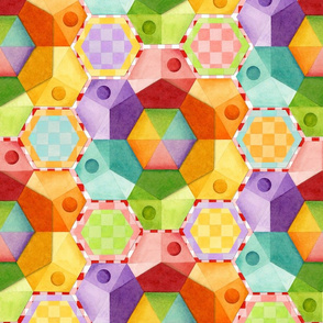 Circus Rainbow Hexagons
