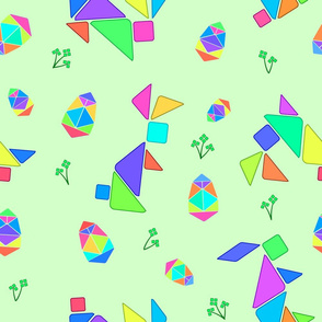 Tangram Easter Bunnies & Shamrocks