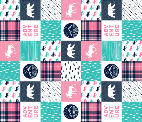 happy camper wholecloth || glacier + hot pink (90) fabric by littlearrowdesign on Spoonflower - custom fabric