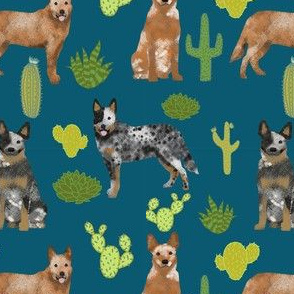 australian cattle dog fabric blue and red heelers cactus fabric - sapphire