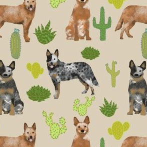 australian cattle dog fabric blue and red heelers cactus fabric - sand