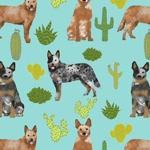 australian cattle dog fabric blue and red heelers cactus fabric - blue tint