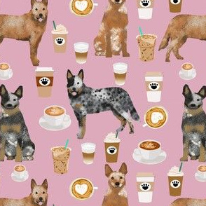 australian cattle dog fabric blue and red heelers and coffees fabric - light purple