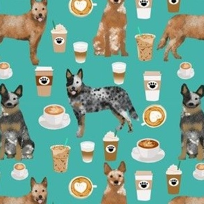 australian cattle dog fabric blue and red heelers and coffees fabric - turquoise