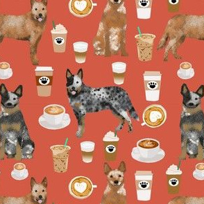 australian cattle dog fabric blue and red heelers and coffees fabric - rust orange