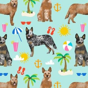 australian cattle dog fabric blue and red heelers and beach fabric - light blue