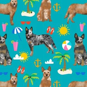 australian cattle dog fabric blue and red heelers and beach fabric - peacock blue