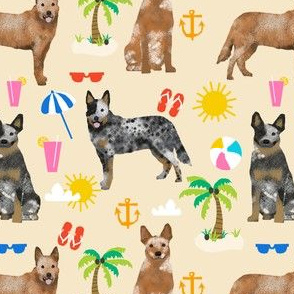 australian cattle dog fabric blue and red heelers and beach fabric - cream