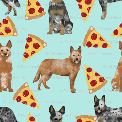 australian cattle dog fabric blue and red heelers and pizzas fabric - light blue