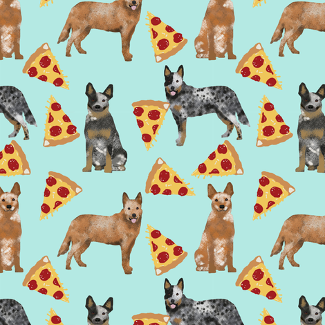 australian cattle dog fabric blue and red heelers and pizzas fabric - light blue fabric by petfriendly on Spoonflower - custom fabric