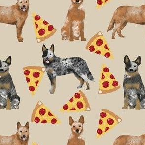 australian cattle dog fabric blue and red heelers and pizzas fabric - sand