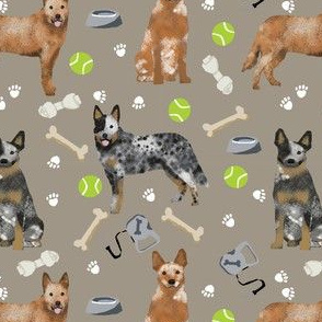 australian cattle dog fabric blue and red heelers and toys fabric - medium brown