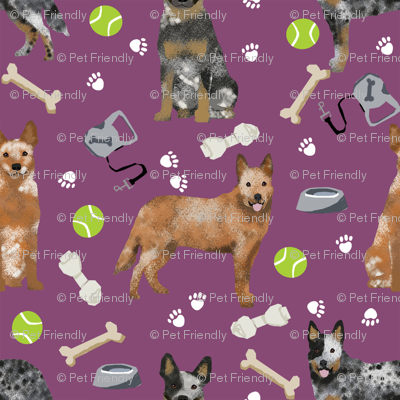 australian cattle dog fabric blue and red heelers and toys fabric - amethyst