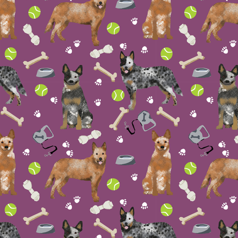 australian cattle dog fabric blue and red heelers and toys fabric - amethyst fabric by petfriendly on Spoonflower - custom fabric