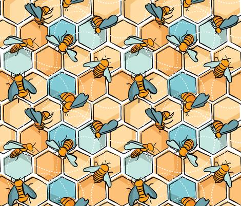 Bees fabric by pragya_k on Spoonflower - custom fabric