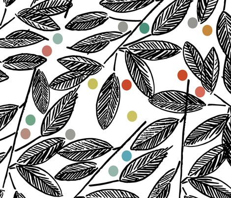 Hand Drawn Leaves fabric by pragya_k on Spoonflower - custom fabric