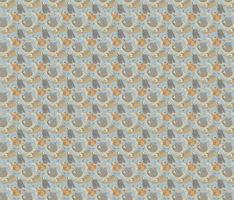Sloths and Vanilla fabric by poodlewool on Spoonflower - custom fabric