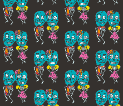 Dancing Skeletons Full Color fabric by incredible on Spoonflower - custom fabric
