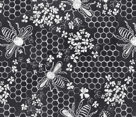 Honey, bee mine chalk hexigon fabric by vo_aka_virginiao on Spoonflower - custom fabric