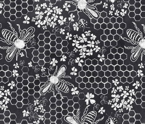 Honey, bee mine chalk hexagon fabric by vo_aka_virginiao on Spoonflower - custom fabric