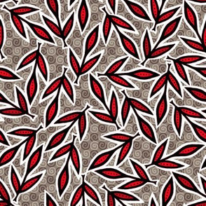 Autumn Leaves - Red on Warm Gray