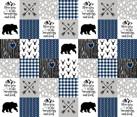 To The Mountains - Wholecloth Cheater Quilt - Navy fabric by longdogcustomdesigns on Spoonflower - custom fabric
