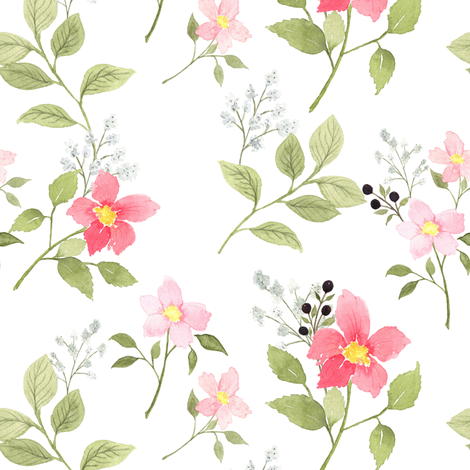 Pink Spring Floral fabric by mintpeony on Spoonflower - custom fabric