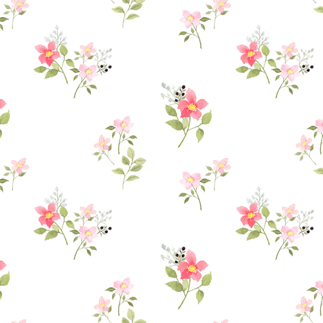 Dainty Pink Spring Floral fabric by mintpeony on Spoonflower - custom fabric