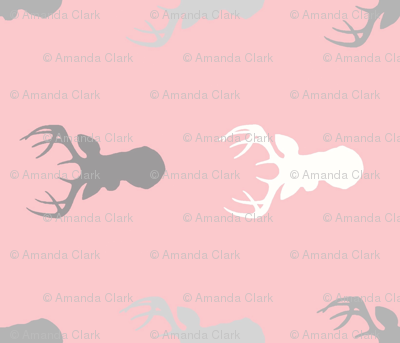 Deer - Rotated- Meadow Sunrise - grey on pink